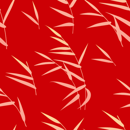 Seamless pattern made with golden reed on red background. Endless texture with simple elements of autumn plant. Vector flat naive floral decoration.