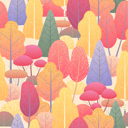 Seamless pattern with colorful coniferous and deciduous trees and bushes on light background. Endless texture with simple elements of autumn plants.  Fall foliage of forest vector flat illustration. Ilustração