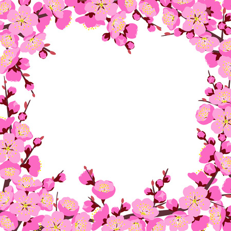 Spring background with flowering tree branches and pink flowers on white. Square border made with plum blossom. Floral decoration for wedding, Chinese New Year, springtime celebrations.