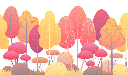 Seamless line horizontal pattern made with red and yellow autumn forest trees and bushes on white background. Endless texture with simple elements of plants. Fall foliage vector flat illustration.