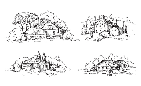 Hand drawn rural scene with houses and trees. Monochrome rustic landscape illustration. Vector sketch.