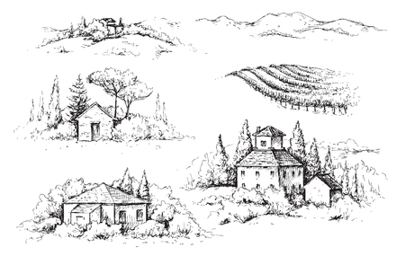 Frammenti disegnati a mano di scena rurale con case, vigneti e alberi. Illustrazione di paesaggio rustico monocromatico. Abbozzo di vettore.