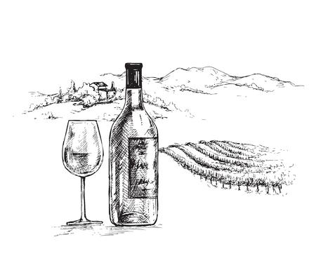 Bottiglia di vino disegnata a mano e vetro su sfondo di scena rurale con vigneto. Monocromatico paesaggio rustico illustrazione. Schizzo vettoriale. Vettoriali