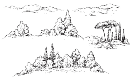 Hand drawn fragments of rural scene with hills, bushes and trees. Monochrome rustic landscape illustration. Vector sketch. Ilustração