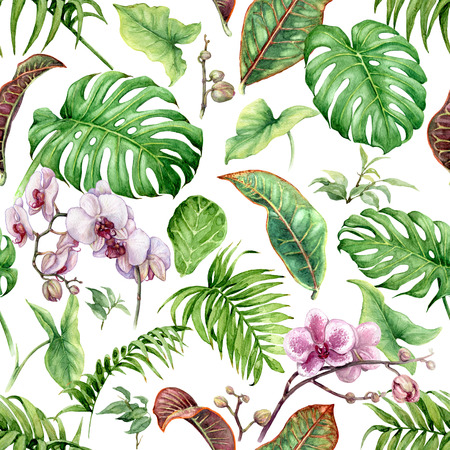 Hand drawn flowers and leaves of tropical plants. Seamless floral pattern made with watercolor exotic green rainforest foliage and pink orchid on white background. Stock Photo