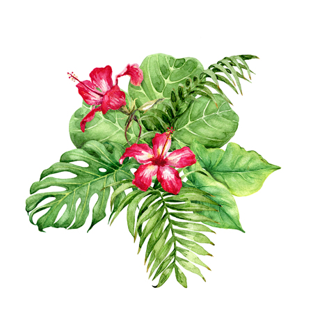 Hand drawn tropical plants. Floral bunch with green leaves and red Hibiscus flowers isolated on white background. Foto de archivo - 115664751