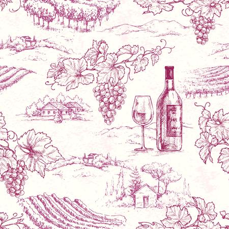 Modello senza cuciture realizzato con rami d'uva disegnati a mano, bottiglia e vetro sullo sfondo della scena rurale. Abbozzo di vettore di vino rosso e vigneto.
