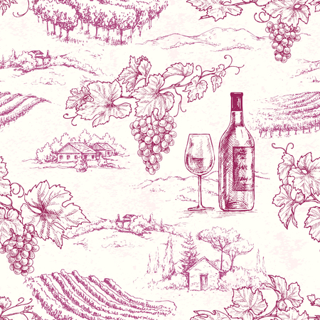Seamless pattern made with hand drawn grape branches, bottle and glass on rural scene background. Red wine and vineyard vector sketch. Illustration