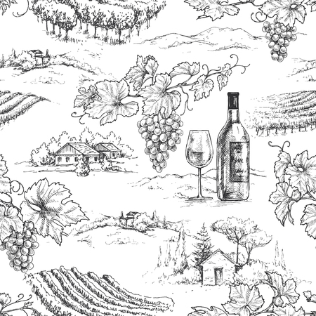 Seamless pattern made with monochrome hand drawn grape branches, bottle and glass on rural scene background. Winemaking theme vector sketch.