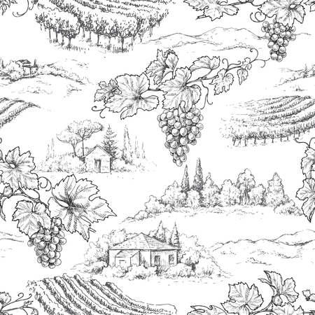 Seamless pattern made with monochrome hand drawn grape branches on rural scene and vineyards background. Winemaking theme vector sketch. Ilustração