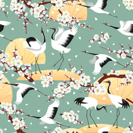 Seamless pattern with Japanese cranes, white flowering tree branches on green background. Endless texture decoration in oriental style with sakura and plum blossoms and birds. Vector flat illustration