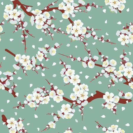 Modello senza cuciture con rami di albero in fiore su sfondo verde. Decorazione a trama infinita con fiori bianchi e petali volanti. Illustrazione piana di vettore. Vettoriali