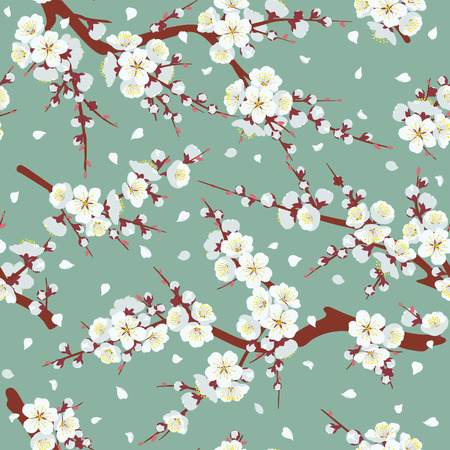 Seamless pattern with flowering tree branches on green background. Endless texture decoration with white flowers and flying petals. Vector flat illustration. Ilustracja