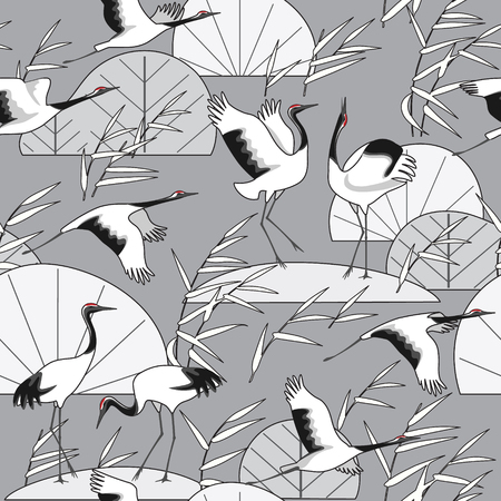 Seamless pattern with Japanese cranes and reeds on gray background. Endless texture decoration in oriental style with black and white simple plants and birds. Vector flat illustration.