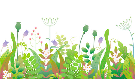Green pattern made with colorful leaves, grass and flowers in row on white background. Floral seamless border with simple elements of spring plants. Vector flat illustration. Ilustração