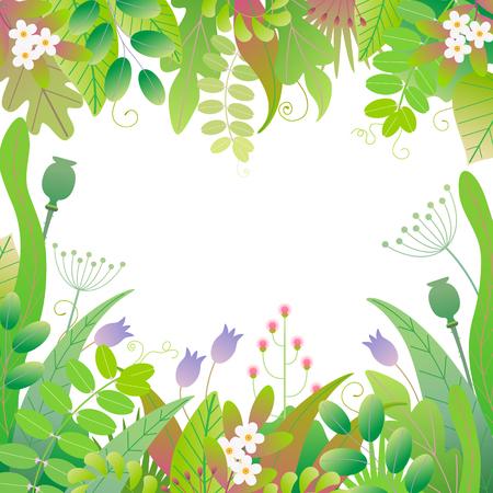Grüner quadratischer Rahmen mit bunten Blättern, Gras und Blumen auf weißem Hintergrund mit Platz für Text. Blumengrenze mit einfachen Elementen von Frühlingspflanzen. Flache Vektorgrafik. Vektorgrafik