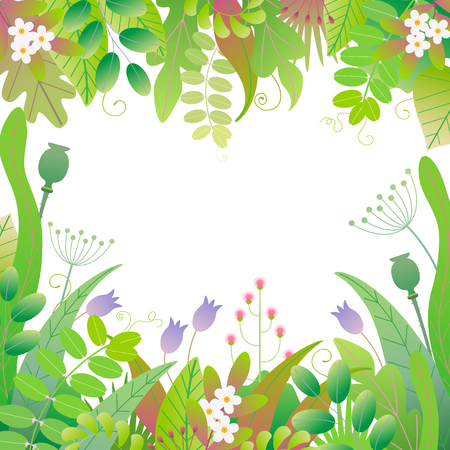Green square frame made with colorful leaves, grass and flowers on white background with space for text. Floral border with simple elements of spring plants. Vector flat illustration. Ilustração