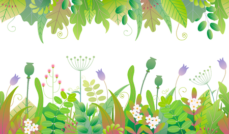 Vivid line horizontal floral pattern with colorful leaves, grass and flowers in two rows on white background. Floral seamless border with simple elements of spring plants. Vector flat illustration.