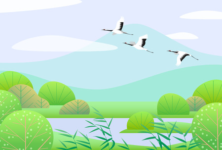Nature background with wetland scene and flying Japanese cranes. Spring landscape with mountains, green trees, reed and birds.  Vector flat illustration. Ilustração