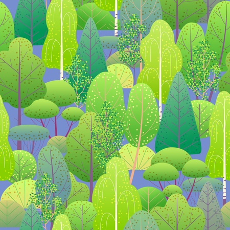 Seamless pattern with colorful forest trees and bushes on blue background. Endless texture with simple elements of plants. Spring foliage vector flat illustration. Vektorové ilustrace