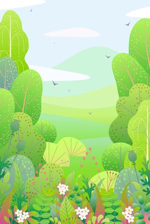 Vertikaler Naturhintergrund mit Bäumen, Büschen, bunten Blättern, Gras und Blumen. Blumengrenze mit einfachen Pflanzen über der Frühlingslandschaft. Vektor flache grüne Laubdekoration.