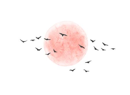 La peinture à l'aquarelle. Illustration dessinée à la main. Soleil rouge et oiseaux volants isolés sur fond blanc. Éléments de conception de paysage naturel.