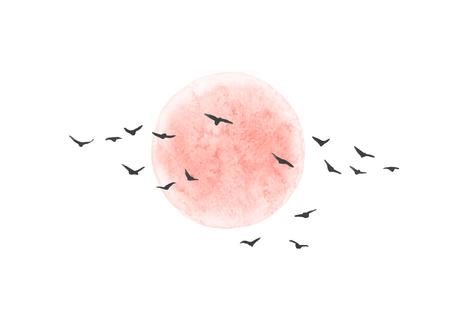 Watercolor painting. Hand drawn illustration. Red sun and flying birds isolated on white background. Nature landscape design elements.