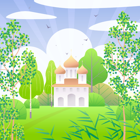 Springtime scene with church, clouds, green trees, reed and flying birds.  Nature background with simple landscape. Vector flat illustration.