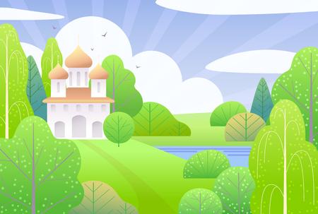 Frühlingsszene mit Kirche, Wolken, grünen Bäumen, Büschen und fliegenden Vögeln. Naturhintergrund mit einfacher Landschaft. Flache Vektorgrafik. Vektorgrafik