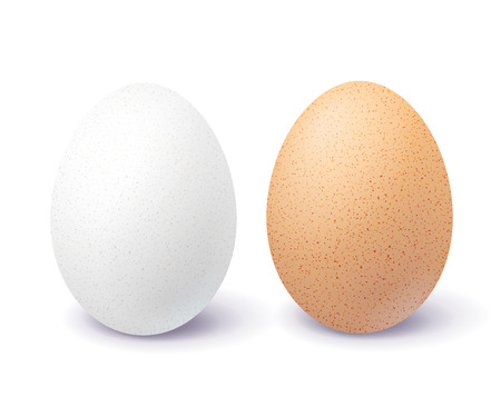 White and brown 3d egg isolated on white background. Two close-up realistic chicken blank and spotted eggs. Фото со стока - 118980119