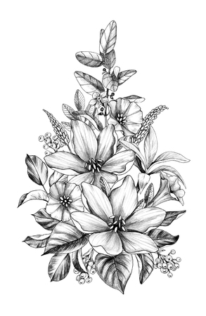 Hand drawn floral bouquet with various big and small   flowers and leaves isolated on white background. Pencil drawing monochrome elegant flower composition in vintage style. Stock Photo