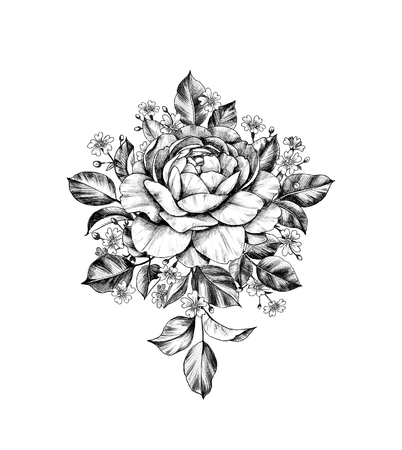 Hand drawn bunch with rose flower and small gypsophila isolated on white background. Pencil drawing monochrome elegant floral composition in vintage style, t-shirt, tattoo design. Stock fotó