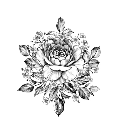 Hand drawn bouquet with rose flower and small gypsophila isolated on white background. Pencil drawing monochrome elegant floral composition in vintage style, t-shirt, tattoo design. Stock fotó