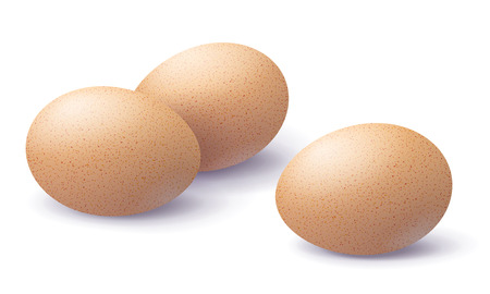 Three brown 3d eggs with shadow on surface isolated on white background. Close-up realistic chicken beige egg.