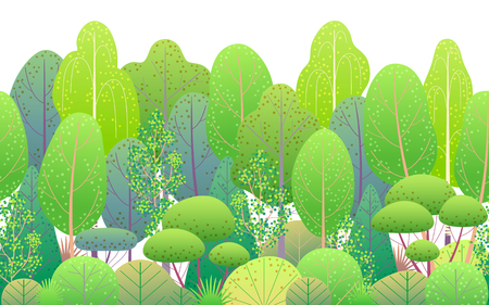 Seamless line horizontal pattern made with colorful spring forest trees and bushes on white background. Endless texture with simple elements of summer plants. Green foliage vector flat illustration.