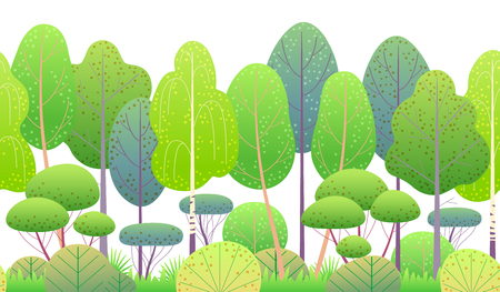 Seamless line horizontal pattern made with colorful spring forest trees and bushes on white background. Green foliage vector flat illustration. Endless texture with simple elements of summer plants.  Ilustração