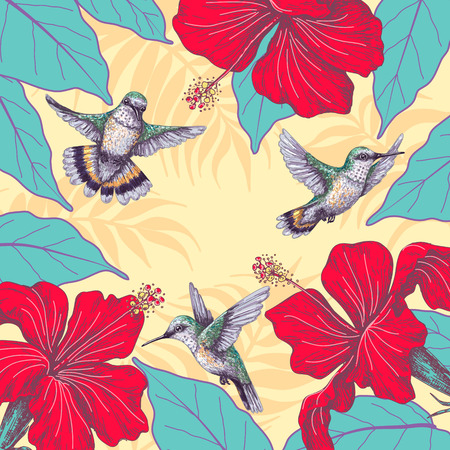 Summer background with Hummingbird and Red Hibiscus. Floral frame with small colibri flying near flowers.