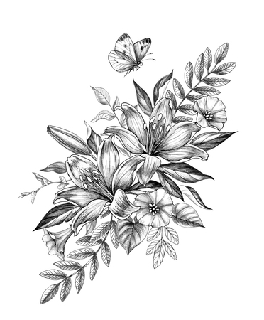 Hand drawn floral bunch with Lily and Bindweed flowers and flying butterfly isolated on white background. Pencil drawing monochrome elegant flower composition in vintage style, t-shirt, tattoo design. Imagens - 120611264