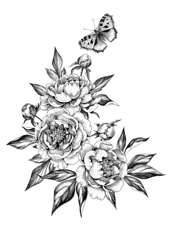 Hand drawn floral bunch with flying Butterfly, Peonies flowers, buds and leaves isolated on white background. Pencil drawing monochrome elegant composition in vintage style, t-shirt, tattoo design.