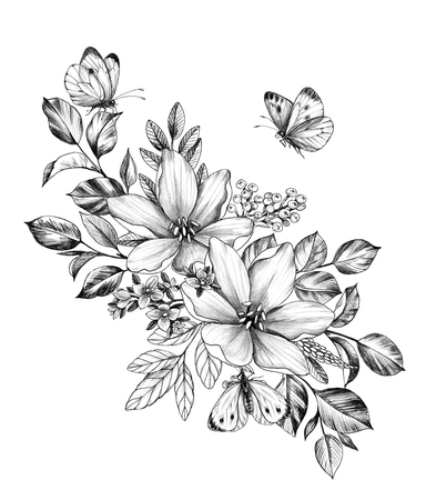 Hand drawn floral bunch with various big and small flowers and butterflies isolated on white background. Pencil drawing monochrome elegant flower composition in vintage style, t-shirt, tattoo design. Stock Photo