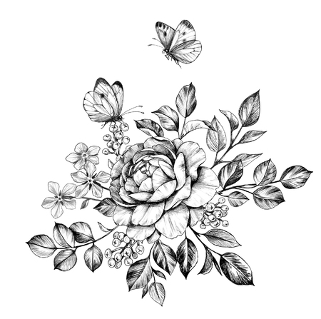 Hand drawn bunch with rose, berries, small flowers and flying butterflies isolated on white background. Pencil drawing monochrome elegant floral composition in vintage style, t-shirt, tattoo design.