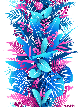 Seamless line vertical pattern with pink and blue tropical plants silhouette. Colorful foliage texture with leaves in row. Vector flat illustration.