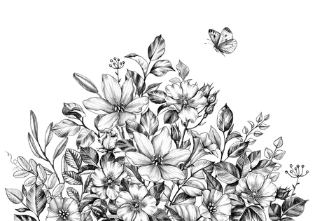 Hand drawn wildflowers bunch and flying butterfly isolated on white background. Pencil drawing flowers border in vintage style. Archivio Fotografico - 122091933