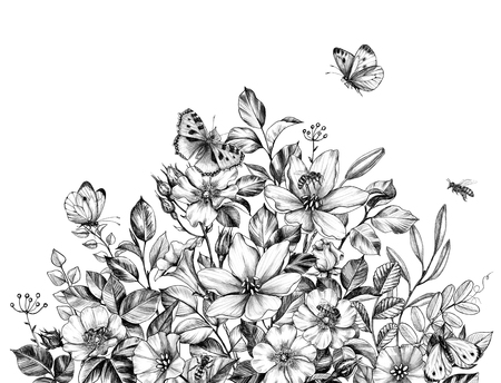 Hand drawn wildflowers bunch, flying bees and butterflies isolated on white background. Pencil drawing  elegance flowers border in vintage style. Stock Photo