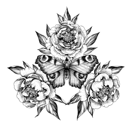 Hand drawn butterfly with  peony flowers isolated on white background. Pencil drawing monochrome insect and plants. Elegant floral composition in vintage style, t-shirt design, tattoo art. Banque d'images
