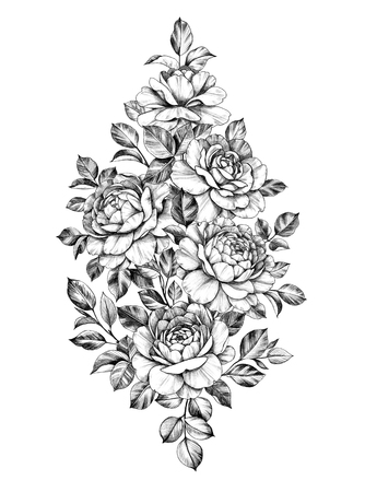 Hand drawn bouquet of roses isolated on white background. Pencil drawing monochrome elegant floral composition in vintage style, t-shirt, tattoo design. Banque d'images - 123770436