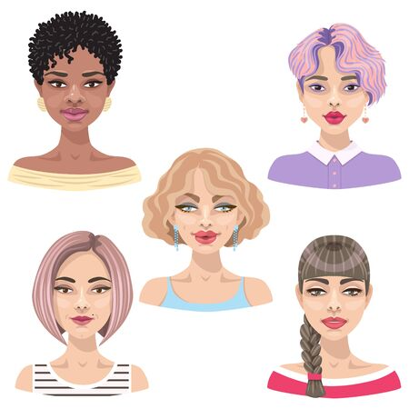 Set of cute cartoon girls with different hairstyles, makeup and hair color illustration. Avatar collection of women faces. Illustration