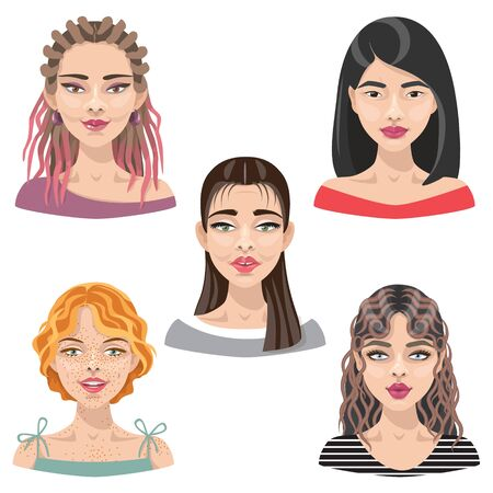 Set of cartoon girls with different hairstyles, makeup and hair color illustration. Avatar collection of women faces.