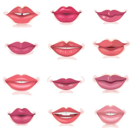 Beautiful female mouth set various color and shape lips isolated on white background. Red, pink and pastel lipstick collection.