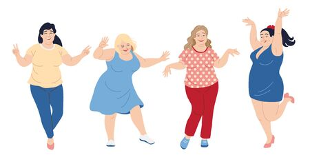 Dancing happy women.  Plus size girls isolated on white background. Vector illustration body positive concept.